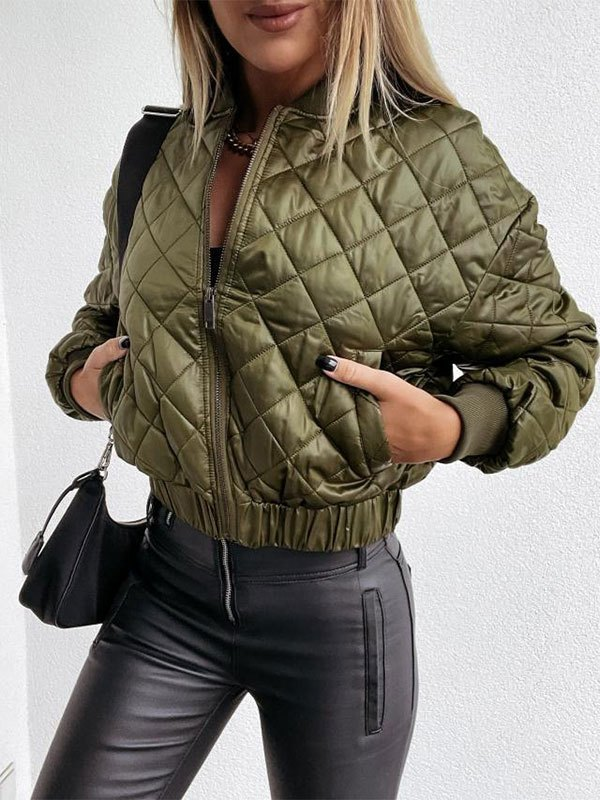 Zipper Quilted Padded Jacket - Green S