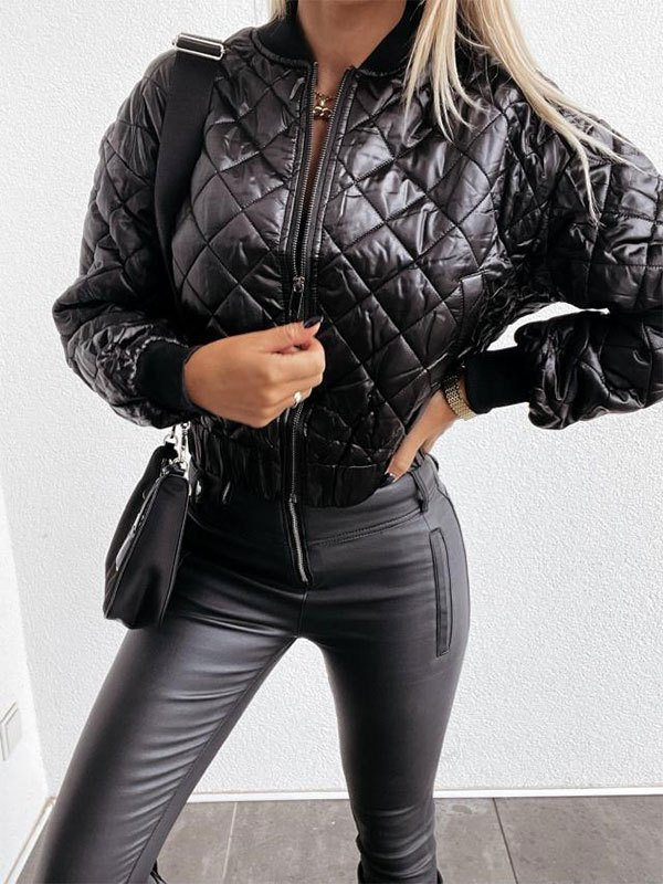 Zipper Quilted Padded Jacket - Black L