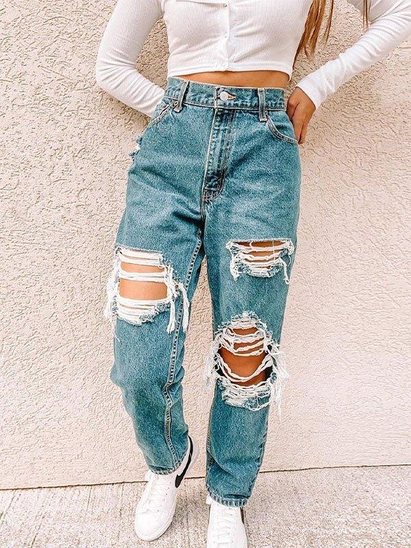 Jeans strappati a vita media consumati - Blu S