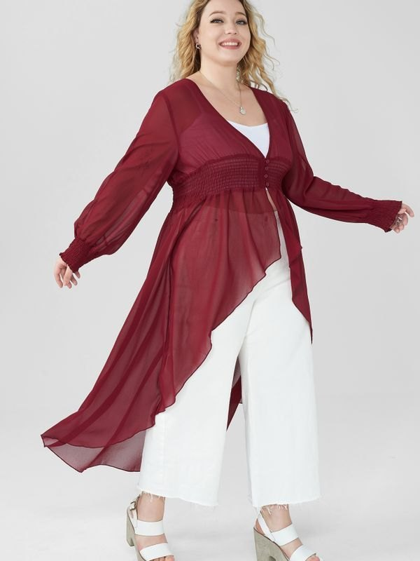 Plus Size Sheer V-neck Asymmetric Hem Long Top - Red 3XL
