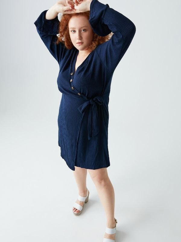 Plus Size Ribbed Tie Waist Fitted Wrap Mini Dress - Navy Blue 2XL