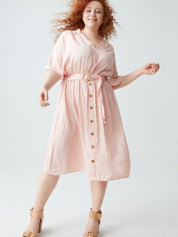 V-neck Dolman Kimono Button Dress - Pink XL