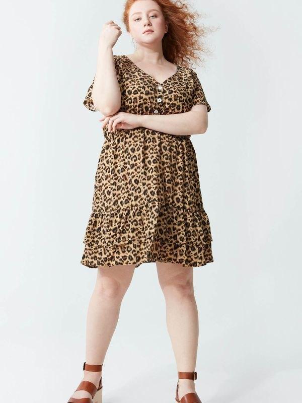 Leopard Prairie Button Mini Dress - Khaki 3XL