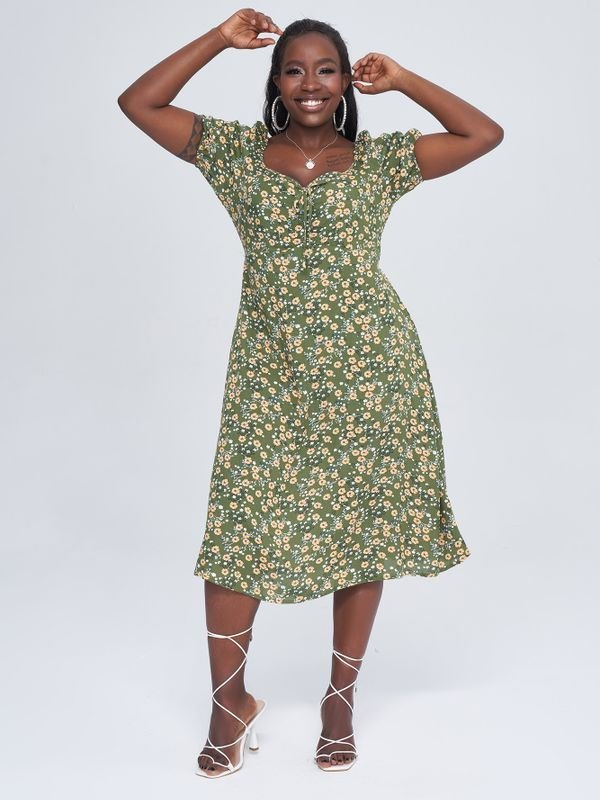 Green Puff Sleeve Daisy Midi Dress - Green 4XL