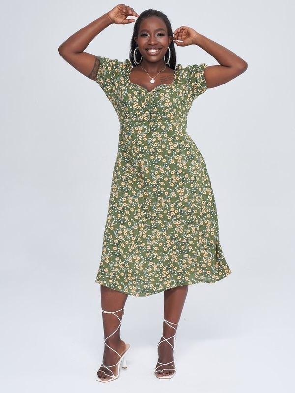 Green Puff Sleeve Daisy Midi Dress - Green XL