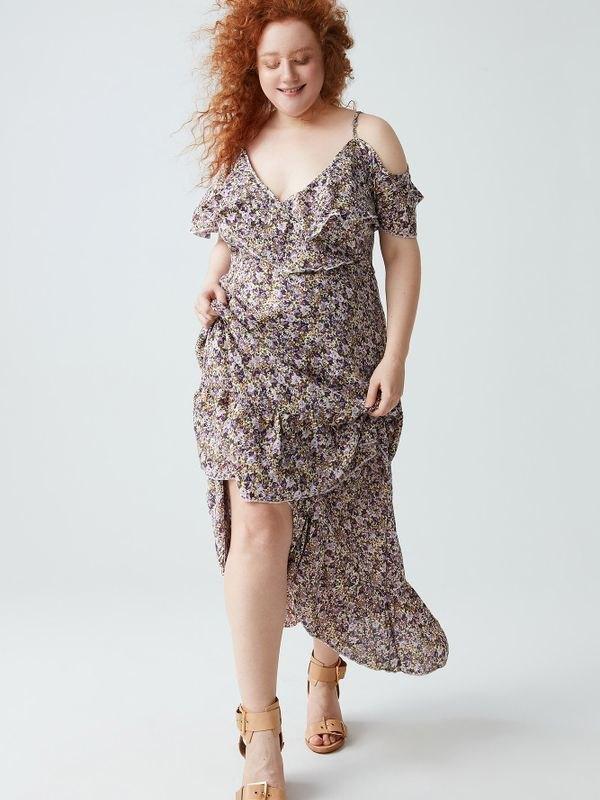 Floral Cold Shoulder Ruffled Maxi Dress - Purple 4XL