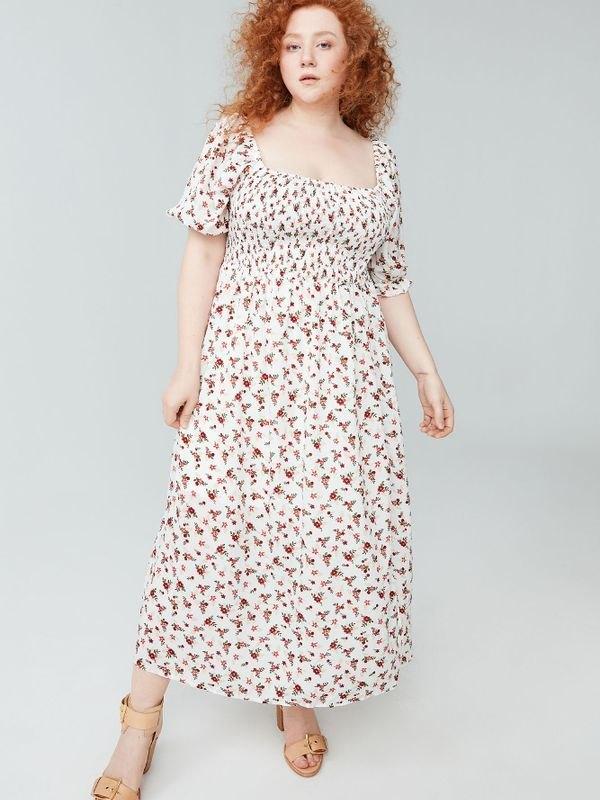 Floral Puff Sleeve Slit Midi Dress - White XL
