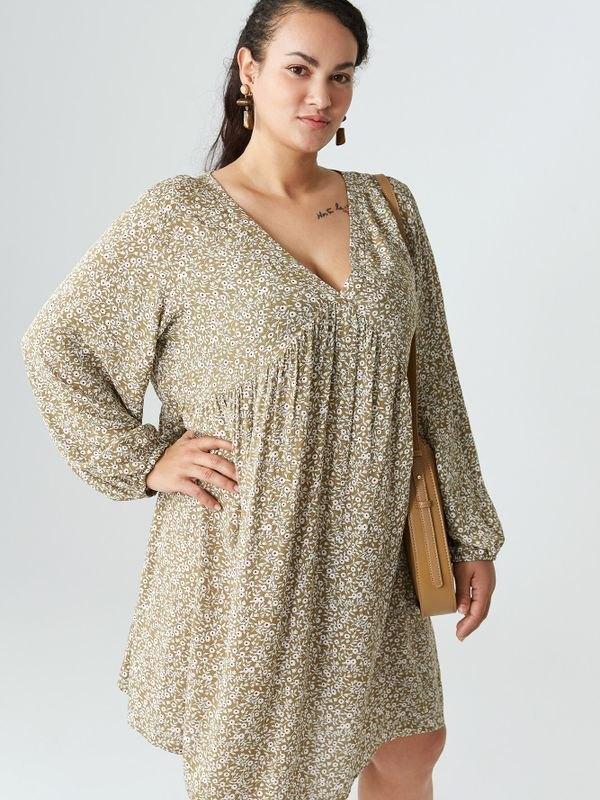Floral-print Long-sleeved Dress - Khaki 2XL
