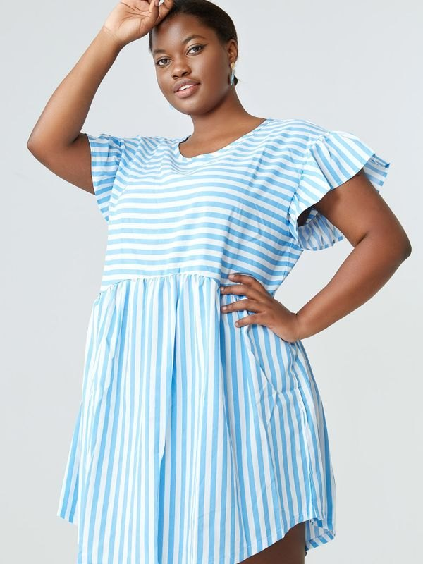 Plus Size Ruffled Sleeve Striped Mini Dress - Light Blue 2XL
