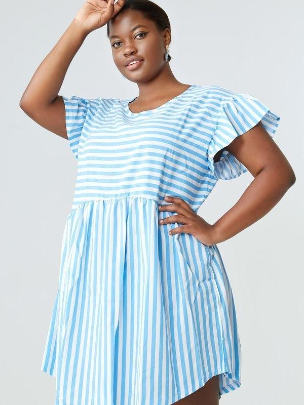 Plus Size Ruffled Sleeve Striped Mini Dress - Light Blue XL