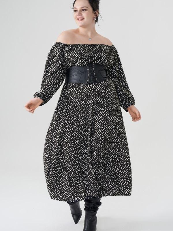 Plus Size Black Floral Print Off Shoulder Maxi Dress - Black 3XL