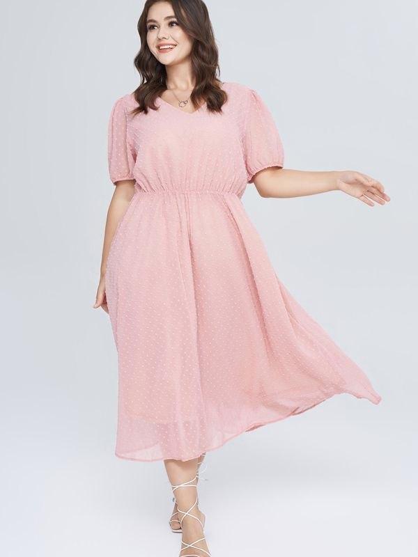 Polka Dot Chiffon Elasticated Waist Dress - Pink L