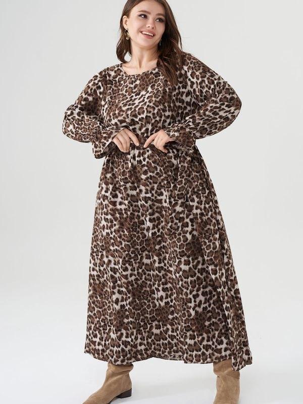 Plus Size Leopard Print Beltd Waist Maxi Dress - Brown 4XL