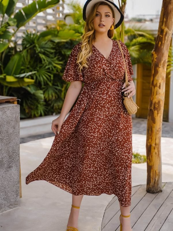 Floral Print Flounced Sleeve Midi Dress - Brown 3XL