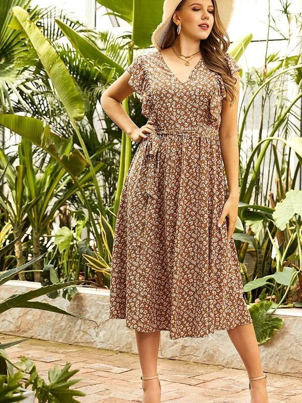 Plus Size Brown Ditsy Butterfly Sleeve Belted Dress - Brown 3XL