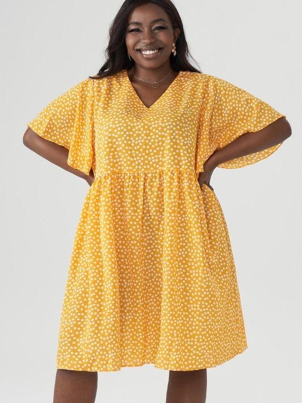 Yellow Ditsy Butterfly Sleeve Mini Dress - Yellow XL