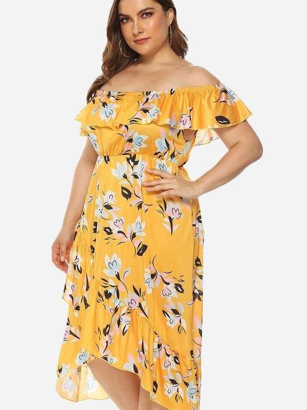 Yellow Floral Off Shoulder Midi Dress - Orange 4XL