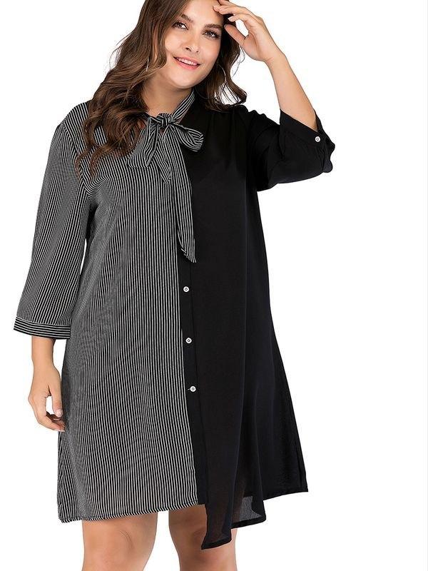 Panelled Collarless Mini Dress - Black 4XL