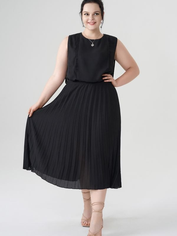 Sleeveless Belted Pleated Midi Dress - Black 2XL