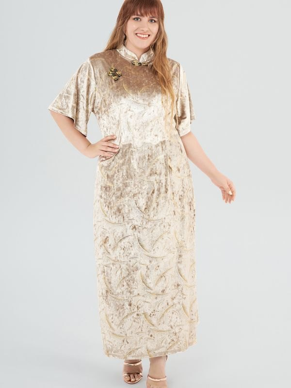 Plus Size Beige Velvet Cheongsam Slit Maxi Dress - Beige 2XL