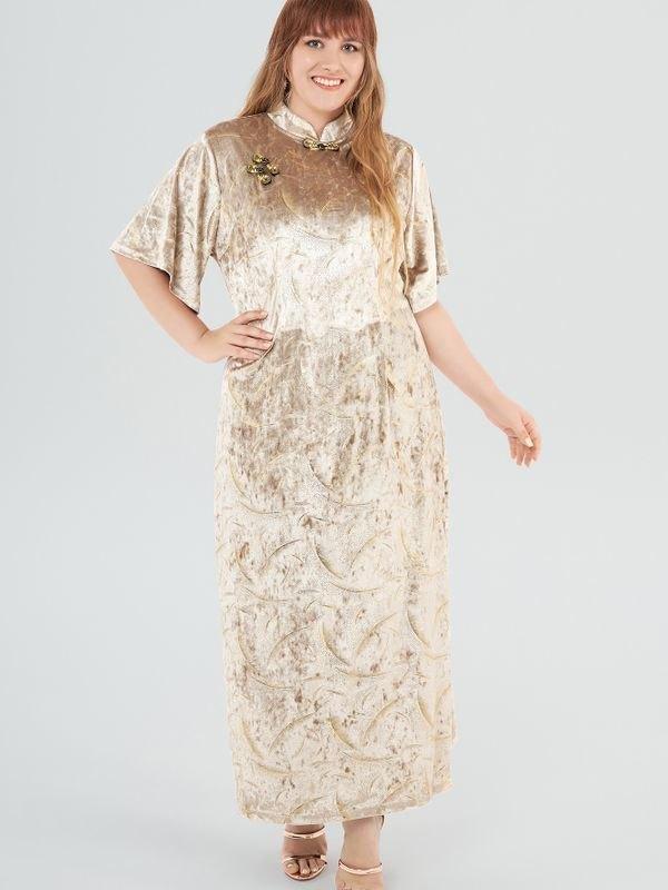 Beige Velvet Cheongsam Slit Maxi Dress - Beige 3XL