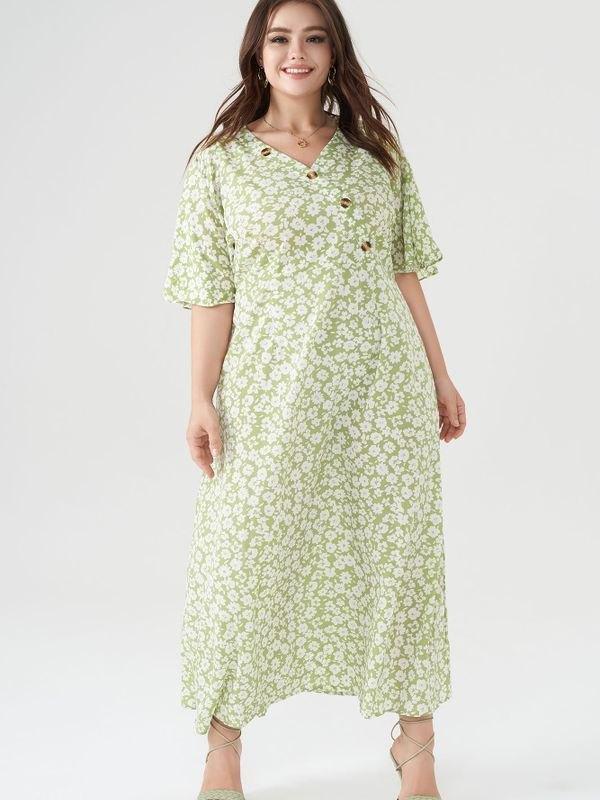 Green Floral Button Wrap Maxi Dress - Mustard Green 4XL
