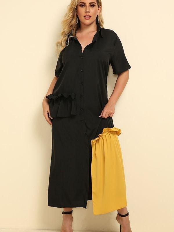 Black Patchwork Short Sleeve Midi Dress - Black 4XL