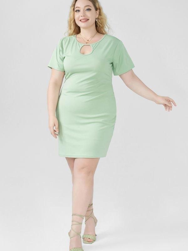 Casual Bodycon Cutout Summer Mini Dress - Green 4XL
