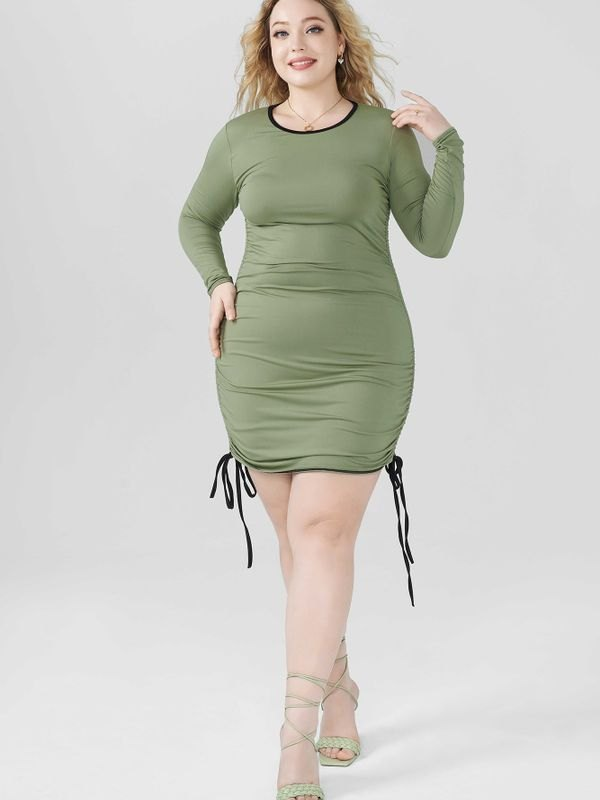 Plus Size Super Fitted Ruched Drawstring Dress - Mustard Green 2XL