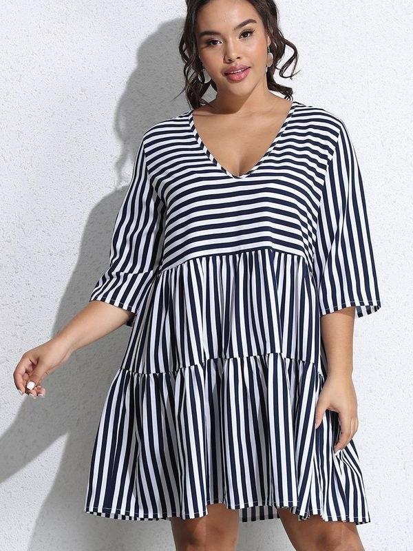 Plus Size Navy Stripe V-neck Tiered Mini Dress - Navy Blue 3XL