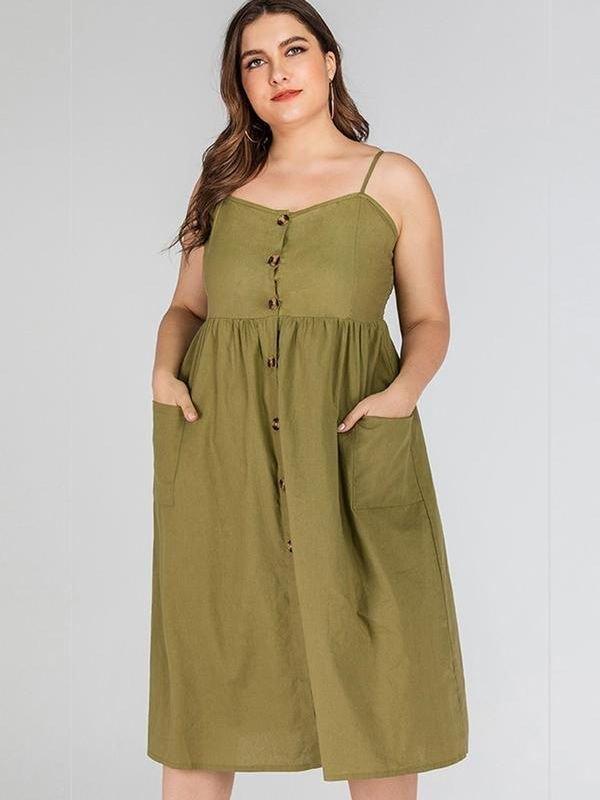 Spaghetti Strap Midi Dress - Green 2XL