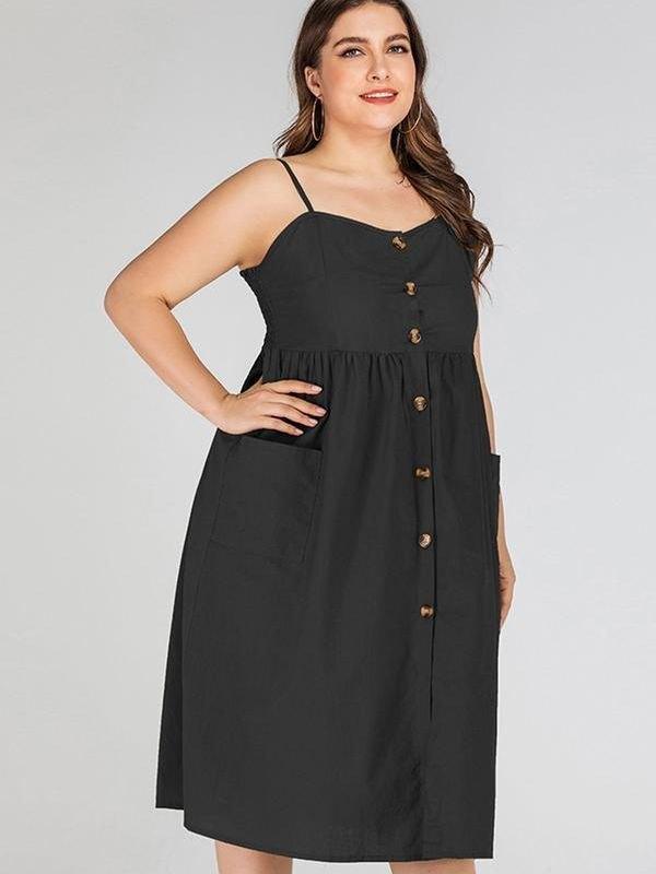 Spaghetti Strap Midi Dress - Black 4XL