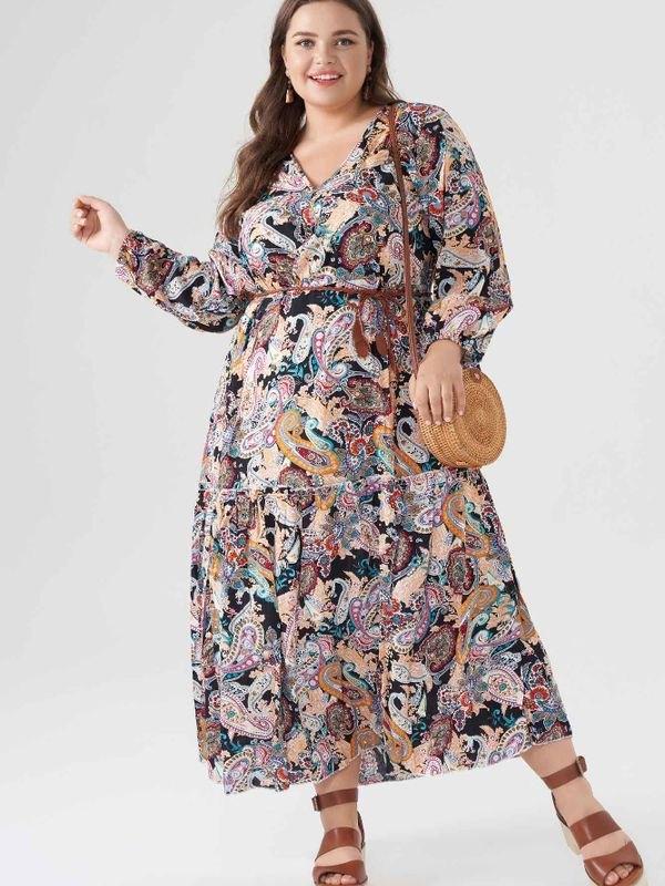 Retro Long Sleeve Printed Dress - Gray XL