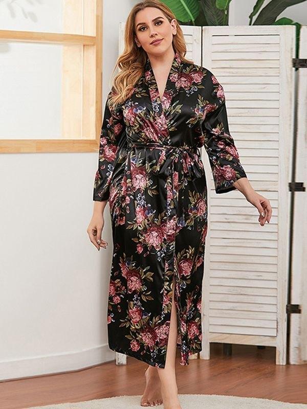Silky Peony Print Belted Waist Robe - Black 2XL
