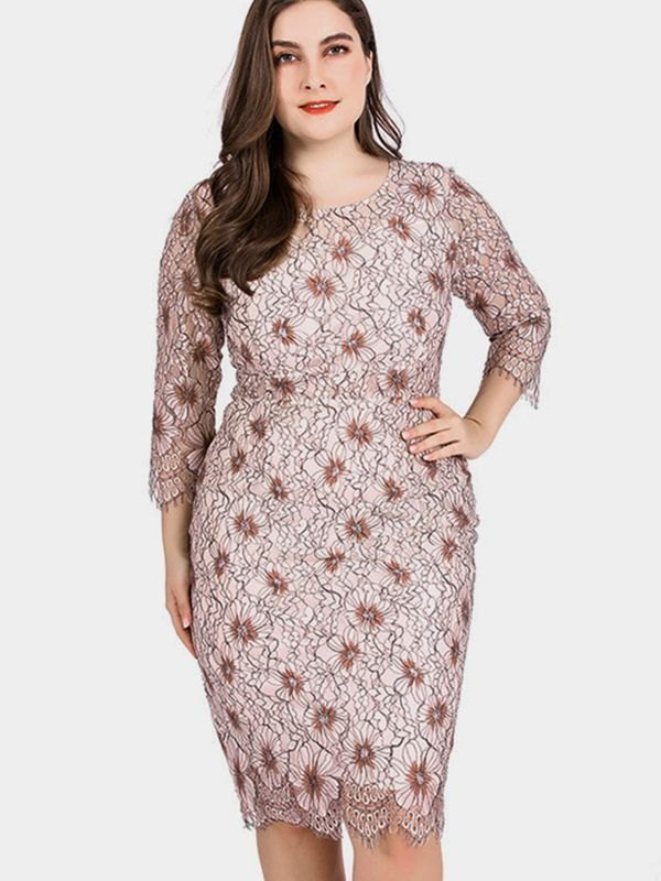 Floral Lace Round Neck Casual Dress - Pink 3XL