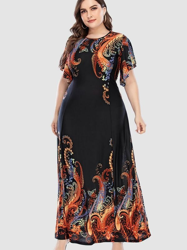 Plus Size Paisley-print Ruffled Sleeves Maxi Dress - Orange 4XL