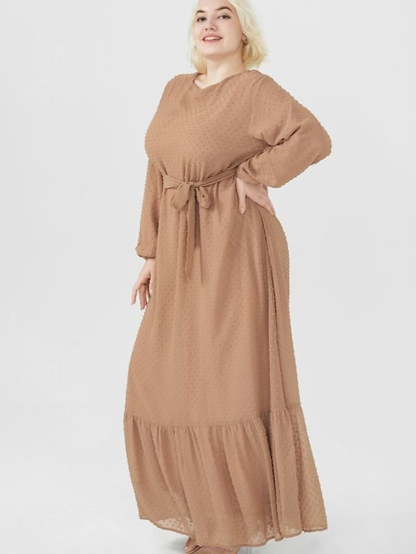 Plus Size Bouffant Sleeves Peplum Hem Belted Maxi Dress - Khaki XL