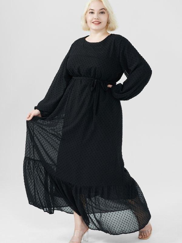 Plus Size Bouffant Sleeves Peplum Hem Belted Maxi Dress - Black XL