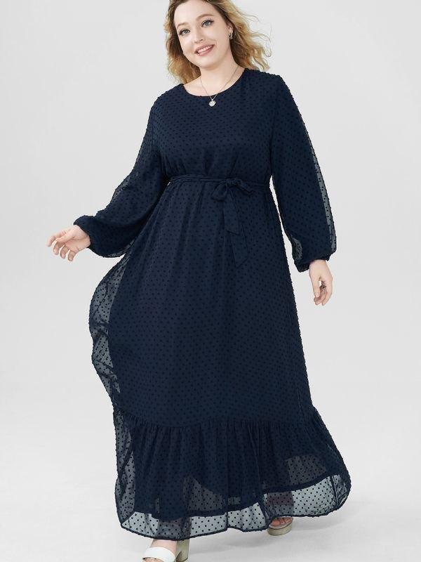 Bouffant Sleeves Peplum Hem Belted Maxi Dress - Navy Blue 2XL