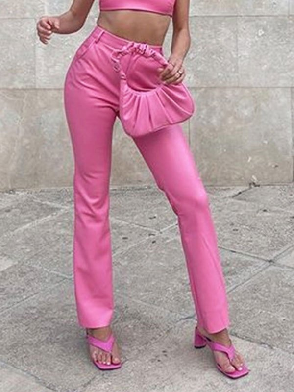 Lined Detail Pu Leather Pants - Pink L
