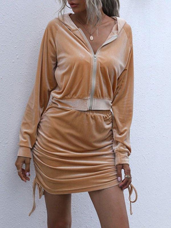 Drawstring Tie Skirt Set - Brown M