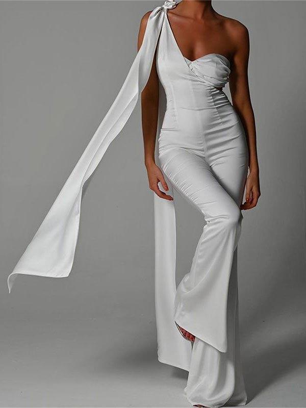 One Shoulder Strap Flare Leg Jumpsuit - White L