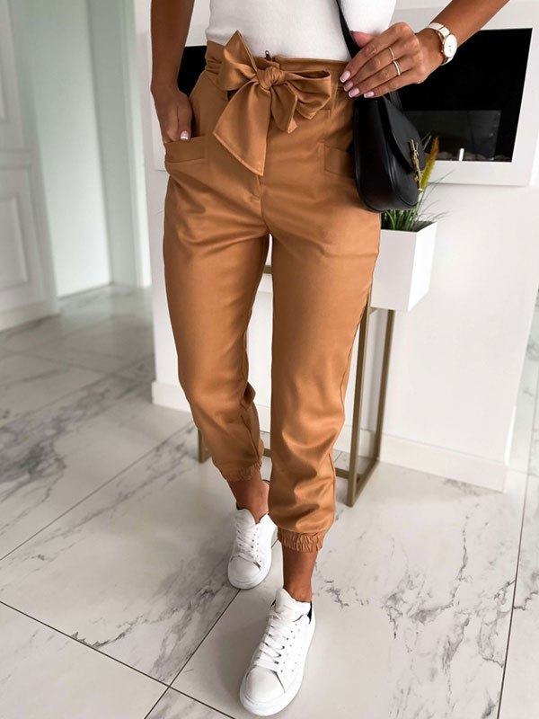 Basic Lace Up Cropped Pants - Brown S