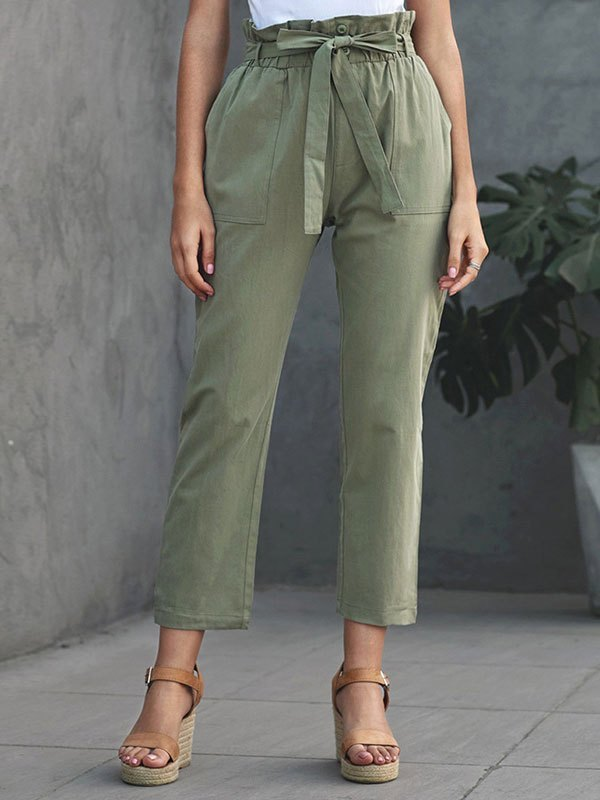 Paperbag Waist Cropped Pants - Chive S