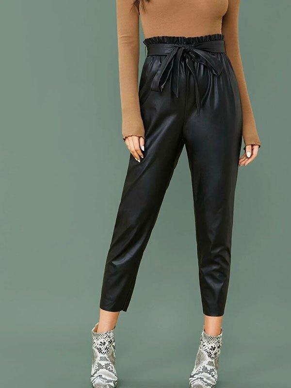 Paperbag Waist Faux Leather Pants - Black M