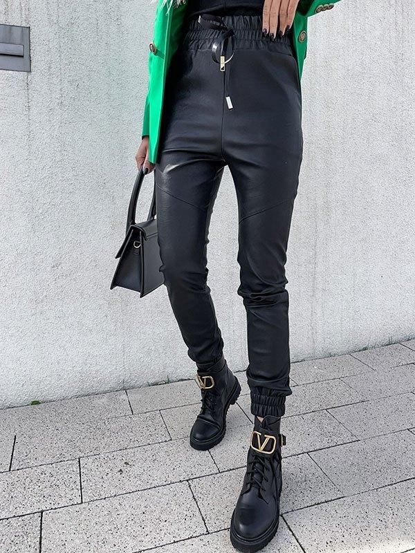 Lace Up Faux Leather Pants - Black M