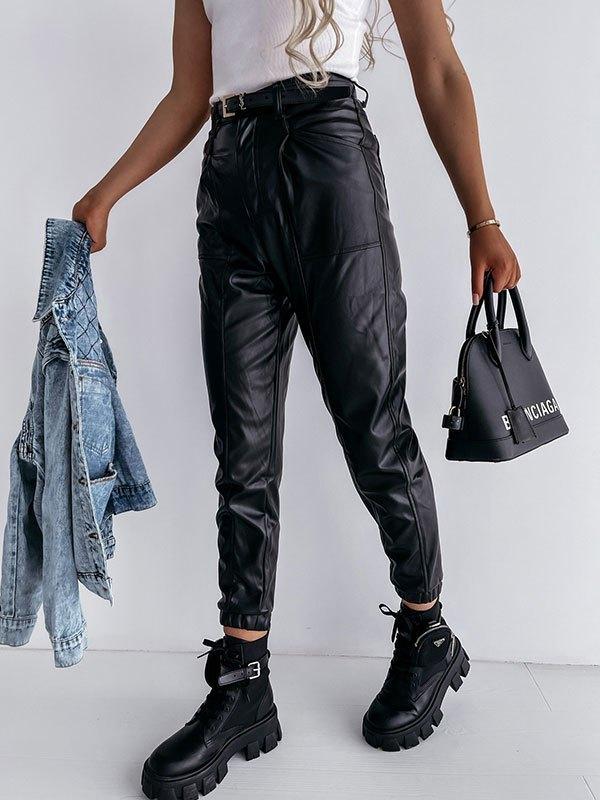 Faux Leather Jogger Pants - Black L