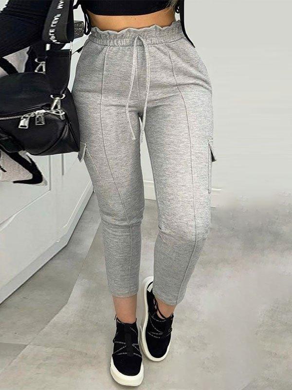Frill Waist Lace Up Jogger Pants - Gray M