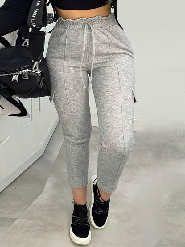 Frill Waist Lace Up Jogger Pants - Gray L