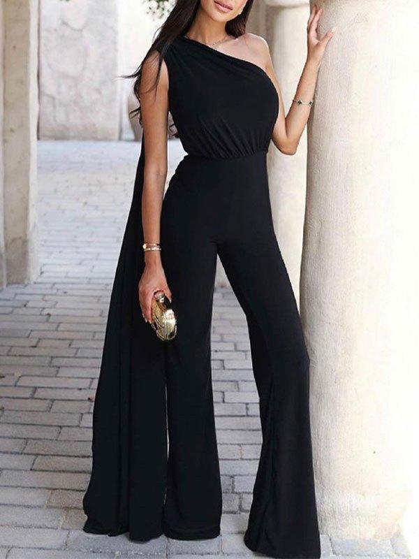One Shoulder Straight Leg Jumpsuit - Black L